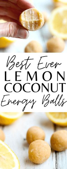 Easy and healthy! These Lemon Coconut Energy Balls are the BEST snack ever! So delicous. Vegan and gluten-free recipe.