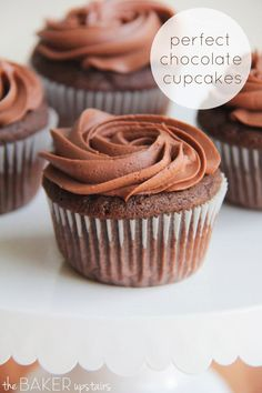 These perfect chocolate cupcakes are so delicious! The flavor is perfectly chocolatey and rich, and the texture is moist and tender.