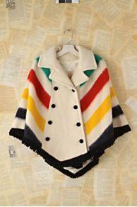 Vintage Hudsons Bay Striped Poncho -- like the backdrop (interesting but still very neutral) Lush Clothing, Vintage Clothing, Canadian Clothing, Hudson Bay Blanket, Pendleton Shirts, Native Style, Native American Fashion, Knitted Poncho, Wool Coat