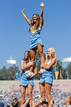 College footballs regular season is finally over. Dont be sad. Its just an opportunity for us to look back on some of our favorite cheerleaders of. University Of Los Angeles, Football Cheerleaders, College Cheerleading, Cheerleading Outfits, Nfl Football, College Football Season, Cheer Pictures, Cheer Pics, Team Uniforms