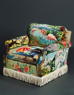 Suzie Stanford tapestry chairs. This chair would not fit into every home decor but it would speak life to you everyday saying, Hello, have a great day, Be happy, Share my joy! I love it.