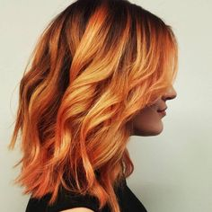 New Hair Ombre Orange Waves 25 Ideas - Modern Orange Highlights, Fire Hair, Balayage Hair Blonde, Super Hair, Ginger Hair, Hair Videos, New Hair, Hair Inspiration, Pixie