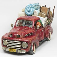 The Big Move Pick Up Truck Sculpture by artist Guillermo Forchino. Discover the entire comical art collection at AllSculptures.com