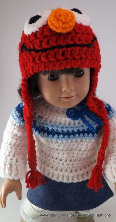 American Girl Crocheted Elmo Ear Flap Hat by SweetPeaFashions, $6.00