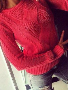 7a6959d20c5f New Red Cut Out Round Neck Long Sleeve Casual Sweater