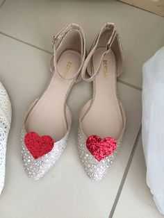 My wedding shoes! Sparkly flats and sparkly red heart shoe clips <3 #avelandnicole