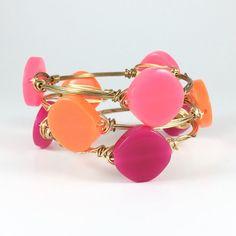 Neon Pink Orange or Pink Circle Wire by CourtneyAndCourtnie