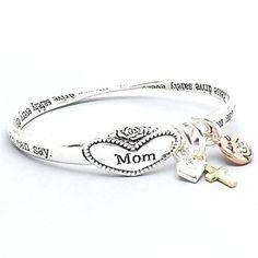 "Silvertone Engraved ""Mom"" Message, Love, Heart & Cross Charm Bangle Bracelet"