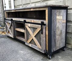 Rustic Industrial Barn Board Media Stand TV Stand w/ Sliding Barn Doors - Trend Industrial Furniture 2019 Industrial Design Furniture, Rustic Industrial, Metal Furniture, Pallet Furniture, Furniture Projects, Rustic Furniture, Furniture Vintage, Furniture Stores, Furniture Makeover