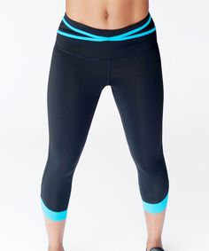 Black & Blue Compression Strappy Activewear Leggings - Plus Too