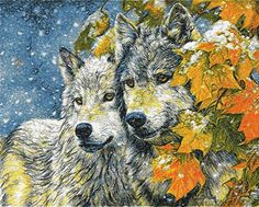 Autumn wolves photo stitch free embroidery design - Photo stitch embroidery designs - Machine embroidery community