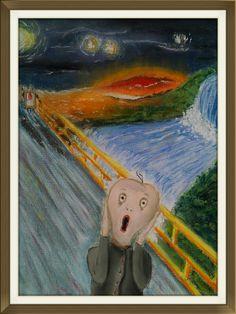 """Geschreeuw"" landschap naar Edvard Munch - soft pastel op papier"