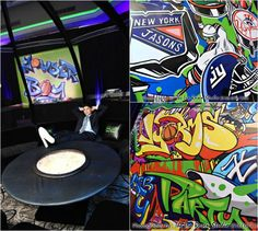 Cool & Creative Graffiti Wall & Lounge for a Sports Theme Bar Mitzvah Party in Long Island NYC {Ira Rosen Photography, Gala Event and Food Artistry NY} - mazelmoments.com