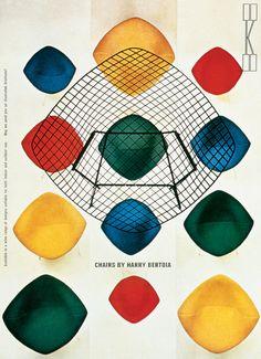 1960's Knoll / Bertoia Diamond Chair ad, herbert matter