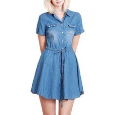 LE3NO Womens Lightweight Short Sleeve Skater Denim Dress (92 BRL) ❤ liked on Polyvore featuring dresses, blue short sleeve dress, short sleeve denim dress, lightweight denim dress, lightweight dresses and blue denim dress