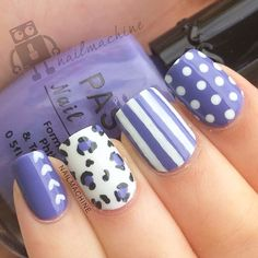 Purple, polka dots, stripes, leopard nails. Nail Art. Nail Design. Polishes. Polish. Polished. Instagram by nailmachine