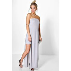 Boohoo Night Anna Bandeau Side Split Double Layer Maxi Dress ($35) ❤ liked on Polyvore featuring dresses, gowns, grey, sequin dress, bodycon party dresses, gray tuxedo, grey bodycon dress and sequin party dresses