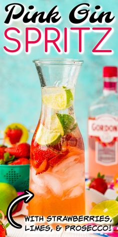 This Pink Gin Spritz is made with pink gin, prosecco, soda, lime juice, and fresh strawberries for a delightfully fruity cocktail that's not too sweet! Gin And Prosecco Cocktail, Gin Cocktail Recipes, Prosecco Cocktails, Easy Fruity Cocktails, Pink Gin Cocktails, Summer Cocktails, Strawberry Gin, Strawberry Cocktails, Gin Recipes
