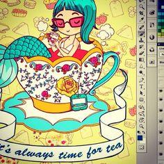 Tea time <3 #drawing #wip