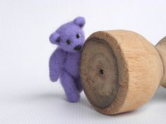 Small lilac felt bear, tiny lavender Teddy bear, needlefelted toy bear, gift for kids Lavender bear has movable legs. It can sit, stand and move his