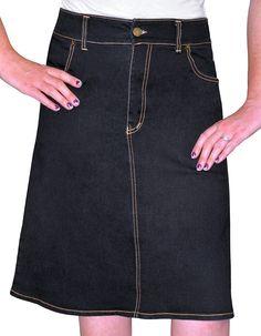 Buy knee-length A-line denim skirt - Kosher Casual. Shop Kosher Casual for Modern, yet Modest Long Skirts, Denim Skirts, Pencil Skirts and Cotton Skirts for Both Women and Girls. Modest Denim Skirts, Casual Skirts, Modest Outfits, Skirt Outfits, Women's Skirts, High Skirts, Casual Outfits, Stretch Denim Skirt, A Line Denim Skirt
