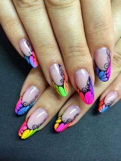When you will see your nail with any of these Summer Nail Art Designs Neon nail art idea, you will be grateful to these ideas for giving you such amazing nail look. Neon Nail Art, Trendy Nail Art, Neon Nails, Rainbow Nail Art, Nail Art Designs, Nail Polish Designs, Nails Design, French Nails, Nail Art Dentelle