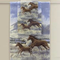 """This colorful and expressive """"Running Free"""" Horse Towel Set makes a bold & evocative statement of your love for America's disappearing wide open spaces, as well as your passion for a noble and loyal creature. $37.00"""