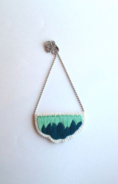 Embroidered abstract pendant in ombre colors by AnAstridEndeavor, $30.00