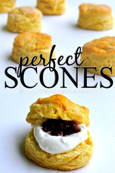 How-to: Perfect Scones. This simply delicious scone recipe is SO easy to make and a perfect starting off point for tons of variations! Tea Recipes, Sweet Recipes, Baking Recipes, Dessert Recipes, Snacks, Cookies, Sweet Bread, No Bake Desserts, Afternoon Tea