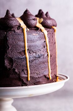 Chocolate cake with salted praline cream filling and dulce de leche