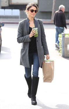 Weekend warrior: Nikki Reed looked comfortable and chic in her knee-high boots and grey blazer as she ran a few errands at Earth Bar in West Hollywood on Sunday Nikki Reed, Ian And Nikki, Ian Somerhalder, Nina Dobrev, Louisiana, Casual Street Style, Stylish Dresses, Star Fashion, Fashion Trends