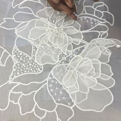 DK's D-Light - DK Designs Brazilian Embroidery pattern & fabric - Embroidery Design Guide Tambour Beading, Tambour Embroidery, Couture Embroidery, Embroidery Fashion, Silk Ribbon Embroidery, Hand Embroidery Patterns, Embroidery Applique, Machine Embroidery Designs, Embroidery Stitches