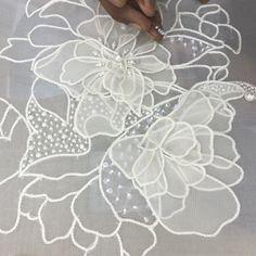 DK's D-Light - DK Designs Brazilian Embroidery pattern & fabric - Embroidery Design Guide Tambour Beading, Tambour Embroidery, Couture Embroidery, Embroidery Fashion, Silk Ribbon Embroidery, Hand Embroidery Patterns, Beaded Embroidery, Machine Embroidery Designs, Lesage