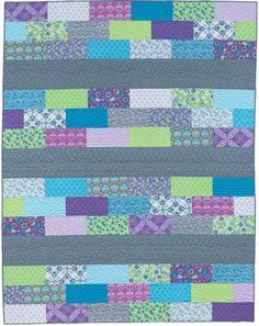 """Super simple row quilt: """"Row of Bricks"""" by Julie Herman, from the book Easy Weekend Quilts."""