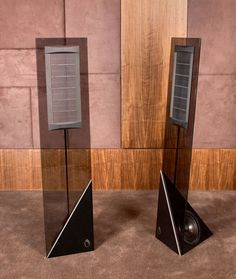 Sonic Blade Glass Electrostatic Speakers With Bass Bottom.