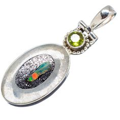 """Rough Mexican Fire Opal, Peridot 925 Sterling Silver Pendant 1 3/4"""" PD555146"""