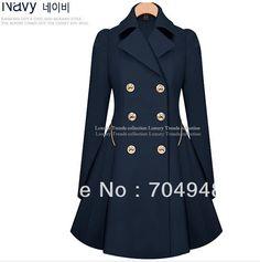 Female New Korean Long Double-Breasted Skirt Folds Trench Coat