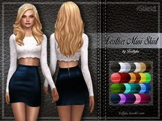 A sexy, leather mini skirt, which comes in 28 colour swatches - in bright and dark colours, as well. It has a custom thumbnail. Enjoy!  Found in TSR Category 'Sims 4 Female Everyday'