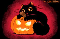 "dianasprinkle: "" Meow-ween - Diana Sprinkle - 2013 BUY THIS AS A SHIRT! Today October 3rd it's on sale at 12.00! My adorable Halloween image! This kitty loves pumpkins sooo much. [Weird Cat Art] - [My..."