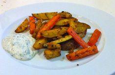 Ofenkartoffel-Gemüse mit Tofu und Kräuter-Dip