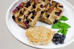 Buckweat waffles with organic blueberries. And yes that's tasty (chicken) sausage on the side. - The Foodery Organic Blueberries, Chicken Sausage, Buckwheat, Blueberry, Waffles, Tasty, Breakfast, Food, Morning Coffee