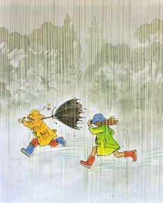 Rainy Day. Vintage Children's Book.