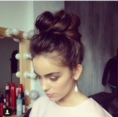 Dark Brown Messy Bun - Hairstyles and Beauty Tips