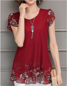 Round Neck Short Sleeve Printed Layered Blouse Women Clothes For Cheap, Collections, Styles Perfectly Fit You, Never Miss It! Trendy Tops For Women, Blouses For Women, Women's Blouses, Stylish Tops, Cotton Blouses, Look Fashion, Fashion Outfits, Womens Fashion, Fashionable Outfits
