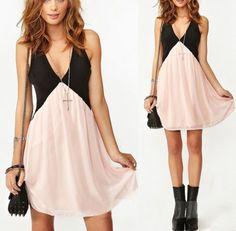 2014 Summer Dresses new Sexy Womens Backless Low Deep V-Neck Stitching Sleeveless Chiffon Dress plus size S-XL free shipping http://cristinebennett.com/product/43/2014-summer-dresses-new-sexy-womens-backless-low-deep-v-neck-stitching-sleeveless-chiffon-dress-plus-size-s-xl-free-shipping