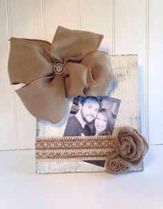 Cream Distressed Picture Frame with Burlap Bow by PaintedPriss, $26.00