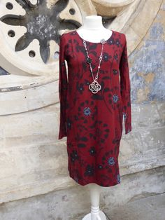 Lovely deep red tunic dress, with pockets and made from Organic Cotton. Fair Trade, Ethical clothing, Nomads clothing at Pomegranate Ladies Clothes Shop Bristol
