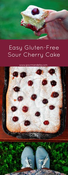 This gluten-free sour cherry cake is an easy and extremely delicious dessert which will always bring back sweet childhood memories! Breakfast Dessert, Paleo Dessert, Best Dessert Recipes, Fun Desserts, Delicious Desserts, Cake Recipes, Gluten Free Sweets, Gluten Free Cookies, Gluten Free Baking