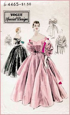 1950s 50s cocktail dress ball gown evening Vintage Sewing Pattern full skirt off shoulder bustier