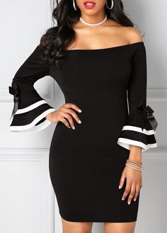Off the Shoulder Black Flare Sleeve Sheath Dress on sale only US$33.95 now, buy cheap Off the Shoulder Black Flare Sleeve Sheath Dress at liligal.com